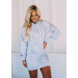 NWT Tie Dye Hoodie Sweatshirt Mini Dress